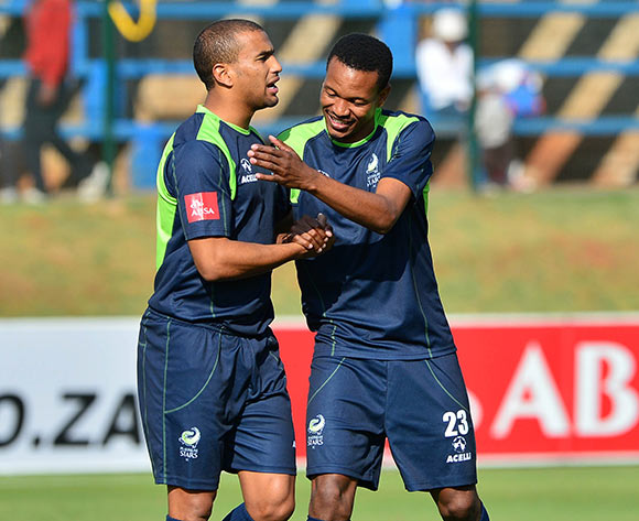 Bryce Moon (l)  and Tlou Segolela of Platinum Stars during the 2014/15 Absa Premiership football match between Bidvest Wits and Platinum Stars at Bidvest Stadium 09 May 2015 ©Gavin Barker/BackpagePix