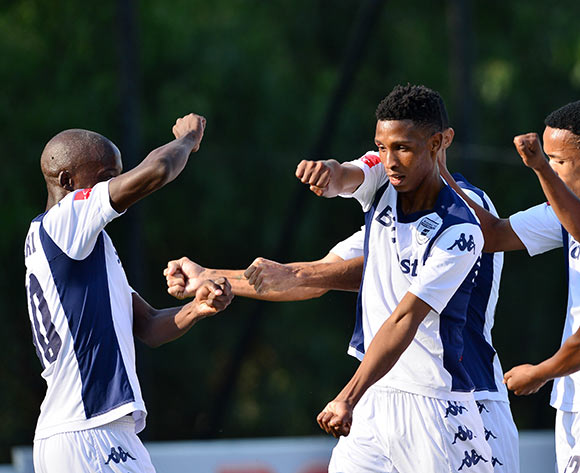 Vincent Maliele Pule of Bidvest Wits (c) celebrates goal with teammates during the 2014/15 Absa Premiership football match between Bidvest Wits and Platinum Stars at Bidvest Stadium 09 May 2015 ©Gavin Barker/BackpagePix