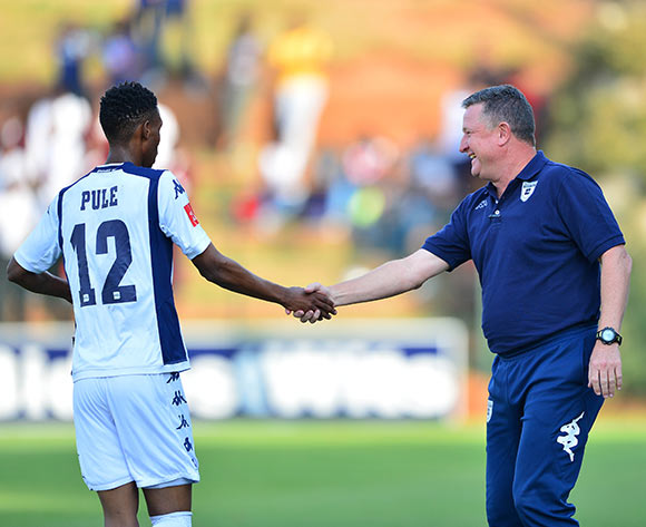 Vincent Maliele Pule of Bidvest Wits congratulated by Gavin Hunt during the 2014/15 Absa Premiership football match between Bidvest Wits and Platinum Stars at Bidvest Stadium 09 May 2015 ©Gavin Barker/BackpagePix