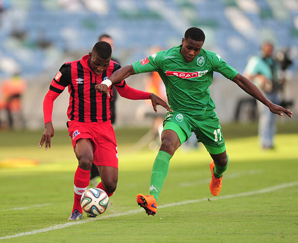 Thamsanqa Mkhize of Maritzburg United FC and Bonginkosi Ntuli of AmaZulu during the Absa Premiership match between AmaZulu and Maritzburg United FC at the Moses Mabhida Stadium in Durban, South Africa on May 09, 2015 ©Gerhard Duraan/BackpagePix