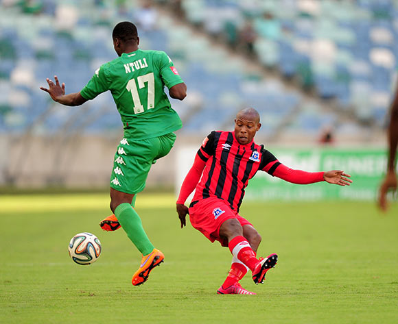 Mondli Cele of Maritzburg United FC and Bonginkosi Ntuli of AmaZulu during the Absa Premiership match between AmaZulu and Maritzburg United FC at the Moses Mabhida Stadium in Durban, South Africa on May 09, 2015 ©Gerhard Duraan/BackpagePix