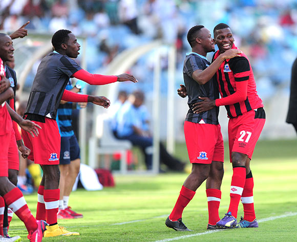 Celebrations after scoring during the Absa Premiership match between AmaZulu and Maritzburg United FC at the Moses Mabhida Stadium in Durban, South Africa on May 09, 2015 ©Gerhard Duraan/BackpagePix