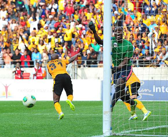 Willard Katsande of Kaizer Chiefs celebrates his goal during the Absa Premiership 2014/15 match between Chippa United and Kaizer Chiefs at the Nelson Mandela Bay Stadium, Port Elizabeth on the 09 May 2015  ©Muzi Ntombela/BackpagePix