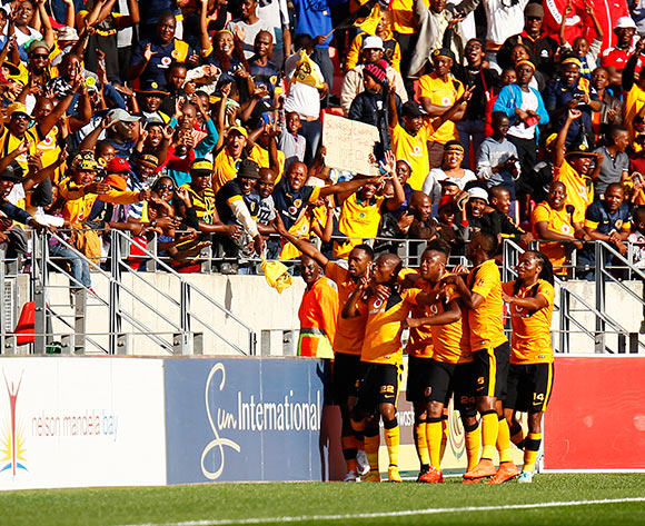 Kaizer Chiefs celebrate after scoring a goal during the Absa Premiership football Match between Chippa United and Kaizer Chiefs  at the Nelson Mandela Bay Stadium on 9 May 2015 © Michael Sheehan/BackpagePix