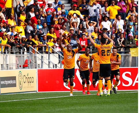 Kaizer Chiefs celebrate after scoring a second goal during the Absa Premiership football Match between Chippa United and Kaizer Chiefs  at the Nelson Mandela Bay Stadium on 9 May 2015 © Michael Sheehan/BackpagePix