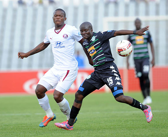 Lantshene Phalane of Moroka Swallows challenges Vuyani Ntanga of Bloemfontein Celtic  during the Absa Premiership match between Moroka Swallows and Bloemfontein Celtic on 09 May 2015 at Dobsonville Stadium Pic Sydney Mahlangu/BackpagePix
