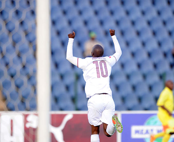 Siyabonga Nomvethe of Moroka Swallows celebrates a goal  during the Absa Premiership match between Moroka Swallows and Bloemfontein Celtic on 09 May 2015 at Dobsonville Stadium Pic Sydney Mahlangu/BackpagePix