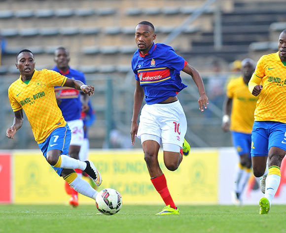 Thabo Mnyamane of University Pretoria challenged by Elias Pelembe and Asavela Mbekile of Mamelodi Sundowns during the Absa Premiership 2014/15 match between Mamelodi Sundowns and University of Pretoria at the Lucas Moripe Stadium in Pretoria, South Africa on May 09, 2015 ©Samuel Shivambu/BackpagePix