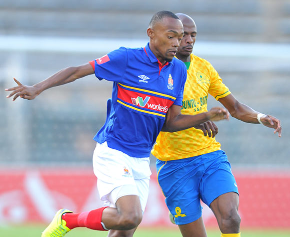 Thabo Mnyamane of University Pretoria challenged by Tebogo Langerman of Mamelodi Sundowns during the Absa Premiership 2014/15 match between Mamelodi Sundowns and University of Pretoria at the Lucas Moripe Stadium in Pretoria, South Africa on May 09, 2015 ©Samuel Shivambu/BackpagePix
