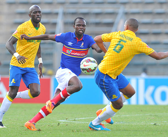 Khethukuthula Zwane of University Pretoria challenged by Anthony Laffor and Wayne Arendse of Mamelodi Sundowns during the Absa Premiership 2014/15 match between Mamelodi Sundowns and University of Pretoria at the Lucas Moripe Stadium in Pretoria, South Africa on May 09, 2015 ©Samuel Shivambu/BackpagePix