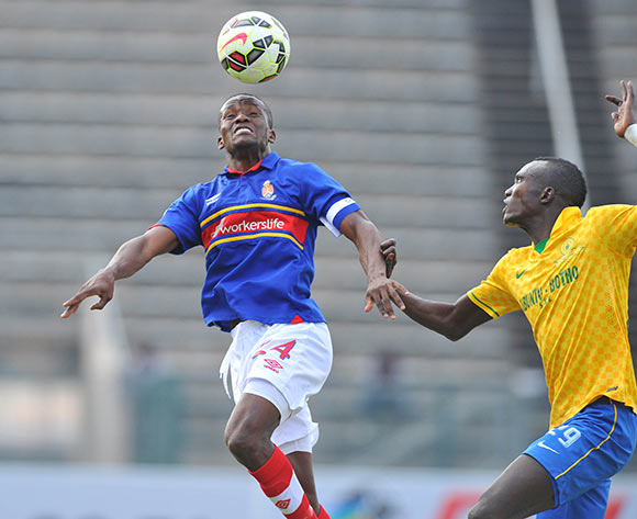 Ronald Ketjijere of University Pretoria challenged by Mame Niang of Mamelodi Sundowns during the Absa Premiership 2014/15 match between Mamelodi Sundowns and University of Pretoria at the Lucas Moripe Stadium in Pretoria, South Africa on May 09, 2015 ©Samuel Shivambu/BackpagePix