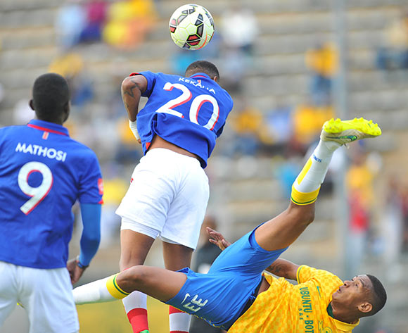 Mario Booysen of Mamelodi Sundowns challenged by Grant kekane of University Pretoria during the Absa Premiership 2014/15 match between Mamelodi Sundowns and University of Pretoria at the Lucas Moripe Stadium in Pretoria, South Africa on May 09, 2015 ©Samuel Shivambu/BackpagePix