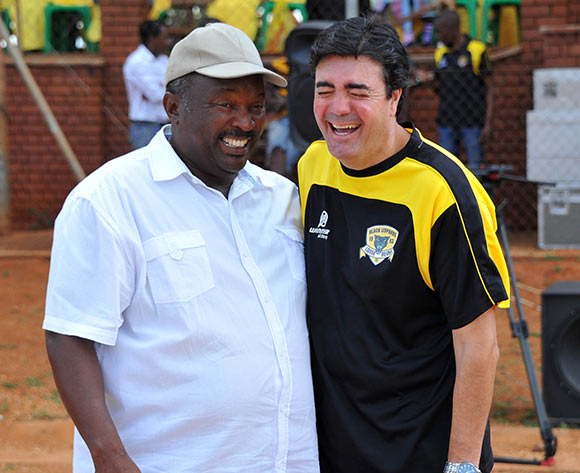 Jomo Sono, coach of Jomo Cosmos shares a joke with Jose Marques, coach of Black Leopards during the PSL promotion play-off match between Black Leopards and Jomo Cosmos at the Thohoyandou Stadium in Limpopo, South Africa on May 17, 2015 ©Samuel Shivambu/BackpagePix