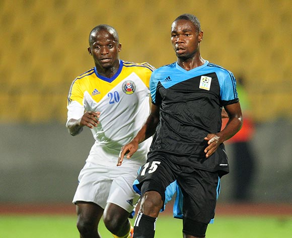 Shomari Kapombe of Tanzania challenged by Xolane Sibandze of Swaziland during the 2015 Cosafa Cup match between Tanzania and Swaziland at the Royal Bafokeng Stadium, Rustenburg on the 18 May 2015  ©Muzi Ntombela/BackpagePix
