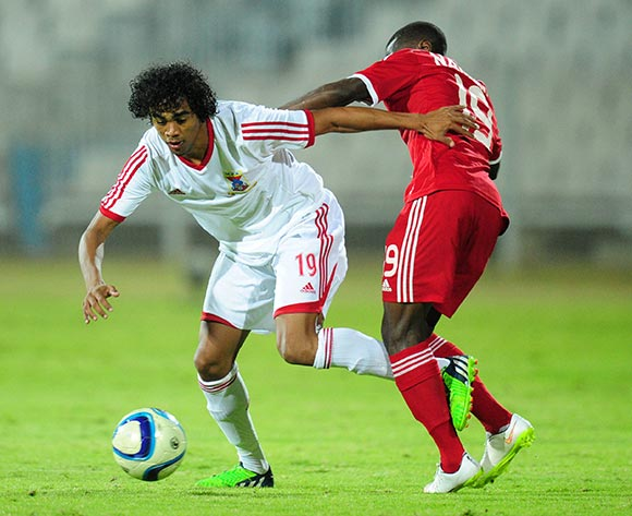 Joseph Kevin Perticots of Mauritius battles with Petrus Shitembi of Namibia during the 2015 Cosafa Cup match between Mauritius and Namibia at the Moruleng Stadium, Rustenburg on the 19 May 2015  ©Muzi Ntombela/BackpagePix