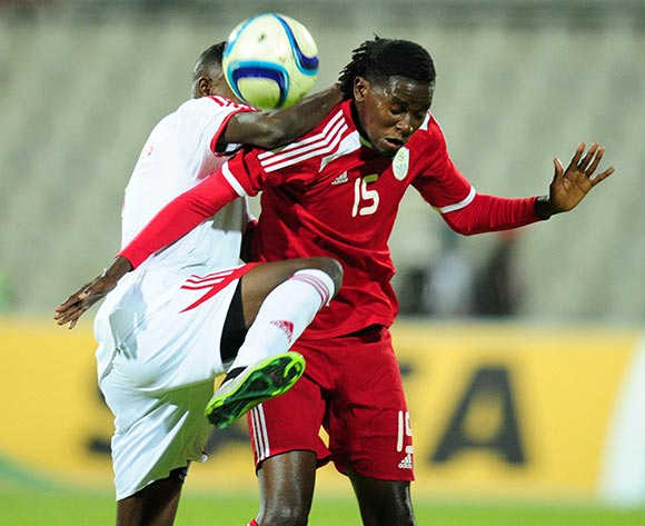Benson Shilongo of Namibia battles with Rasolofonirina Francis of Mauritius during the 2015 Cosafa Cup match between Mauritius and Namibia at the Moruleng Stadium, Rustenburg on the 19 May 2015  ©Muzi Ntombela/BackpagePix