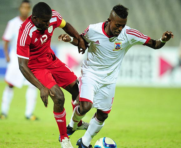 Ronald Ketjijere of Namibia battles with Edourard Jonathan of Mauritius during the 2015 Cosafa Cup match between Mauritius and Namibia at the Moruleng Stadium, Rustenburg on the 19 May 2015  ©Muzi Ntombela/BackpagePix