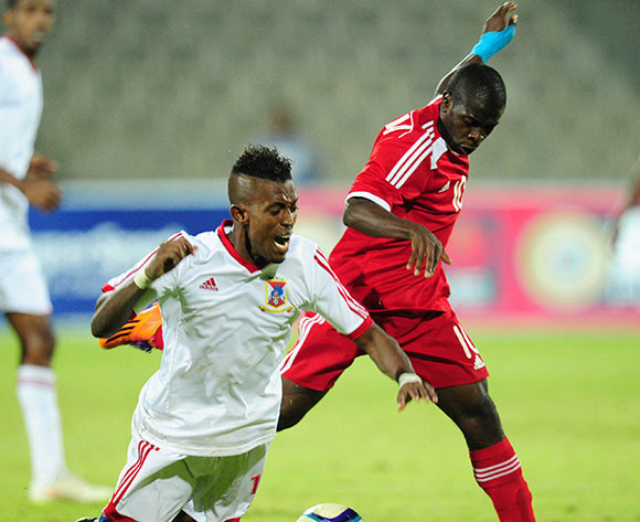 Rasolofonirina Francis of Mauritius fouled by Wangu Gome of Namibia during the 2015 Cosafa Cup match between Mauritius and Namibia at the Moruleng Stadium, Rustenburg on the 19 May 2015  ©Muzi Ntombela/BackpagePix