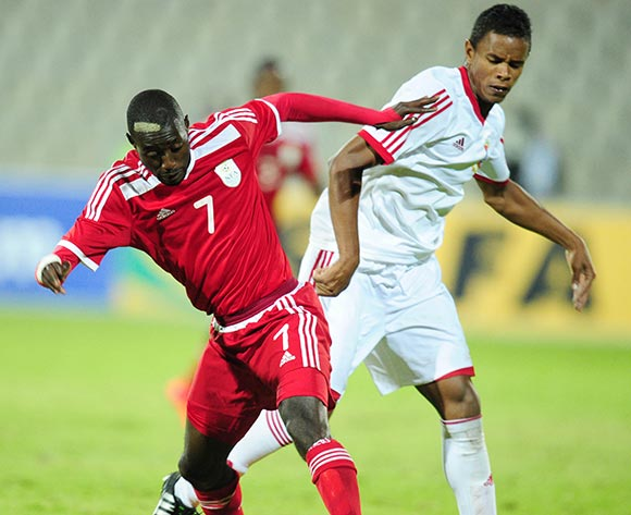 Deon Hotto of Namibia challenged by Jimmy Percy Buckland of Mauritius during the 2015 Cosafa Cup match between Mauritius and Namibia at the Moruleng Stadium, Rustenburg on the 19 May 2015  ©Muzi Ntombela/BackpagePix
