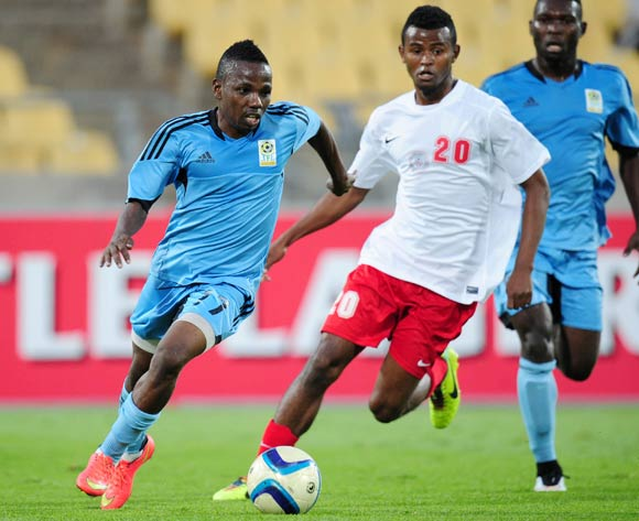 Mrisho Ngasa of Tanzania challenged by Rihno Michel of Madagascar during the 2015 Cosafa Cup match between Madagascar and Tanzania at the Royal Bafokeng Stadium, Rustenburg on the 20 May 2015