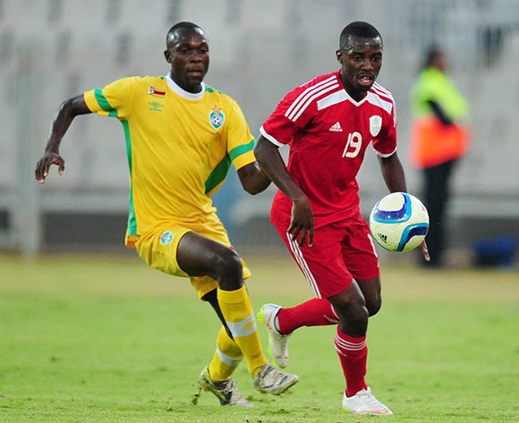 Petrus Shitembi of Namibia challenged by Carlos Rusere of Zimbabwe during the 2015 Cosafa Cup match between Namibia and Zimbabwe at the Moruleng Stadium, Rustenburg on the 21 May 2015  ©Muzi Ntombela/BackpagePix