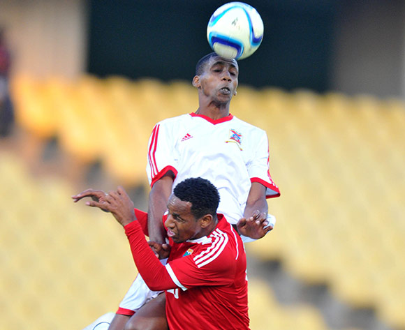 Rashim Kiren Padayachy of Seychelles challenged by Jonathan Edouard of Mauritius during the 2015 Cosafa Cup match between Seychelles and Mauritiu at the Royal Bafokeng Stadium in Rustenburg, South Africa on May 21, 2015 ©Samuel Shivambu/BackpagePix