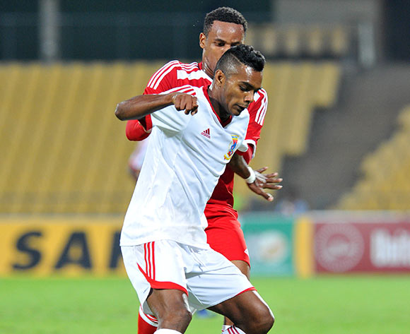 Jean-Pierre Sophie of Mauritius challenged by Rashim Kiren Padayachy of Seychelles during the 2015 Cosafa Cup match between Seychelles and Mauritius at the Royal Bafokeng Stadium in Rustenburg, South Africa on May 21, 2015 ©Samuel Shivambu/BackpagePix