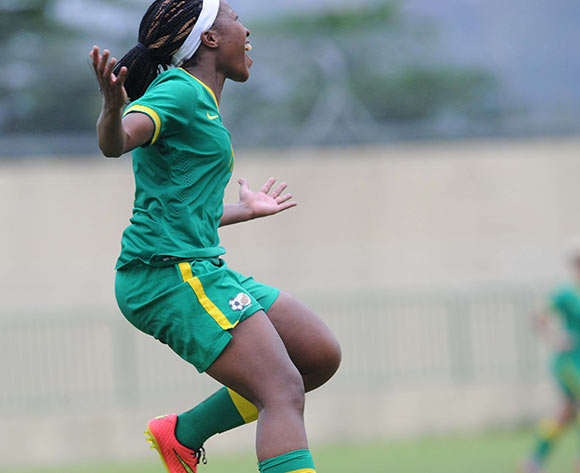 Sanah Mollo of Southn Africa celebrates a goal during the Olympics Qualifier match between Gabon and South Africa on 23 May 2015 at Augustin Monedan Stadium in Libreville Pic Sydney Mahlangu/BackpagePix