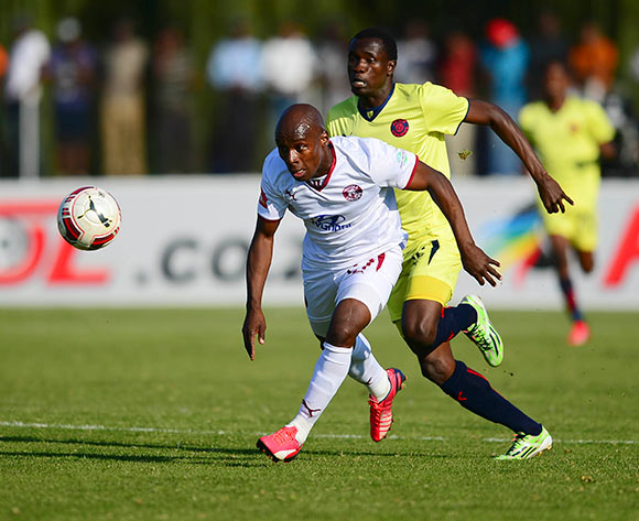 Sipho Mngomezulu of Moroka Swallows and Charlton Mashumba of Jomo Cosmos during the  2015 Promotion Relegation Match football match between Jomo Cosmos and Moroka Swallows at the University of Technology in Vanderbijlpark on May 24, 2015 ©Barry Aldworth/BackpagePix