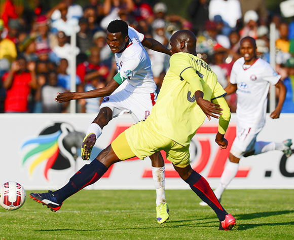 Lucky Baloyi of Moroka Swallows shoots at goal during the  2015 Promotion Relegation Match football match between Jomo Cosmos and Moroka Swallows at the University of Technology in Vanderbijlpark on May 24, 2015 ©Barry Aldworth/BackpagePix