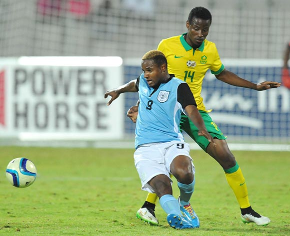Omaatla Kebatho of Botswana battles with Thamsanqa Sangweni of South Africa during the 2015 Cosafa Cup Quarter Final match between South Africa v Botswana at Moruleng Stadium, Rustenburg on the 25 May 2015  ©Muzi Ntombela/BackpagePix