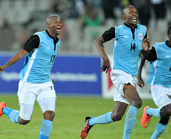 Botswana players celebrate during the 2015 Cosafa Cup Quarter Final match between South Africa v Botswana at Moruleng Stadium, Rustenburg on the 25 May 2015  ©Muzi Ntombela/BackpagePix