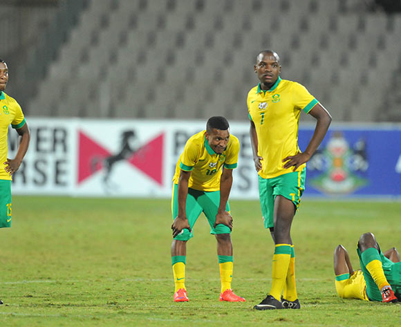 South Africa players dejected during the 2015 Cosafa Cup Quarter Final match between South Africa v Botswana at Moruleng Stadium, Rustenburg on the 25 May 2015  ©Muzi Ntombela/BackpagePix