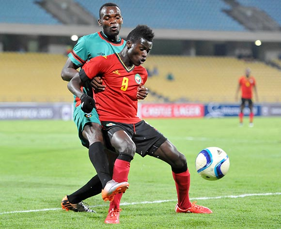 Witness Quembo of Mozambique battles with John Lanjesi of Malawi during the 2015 Cosafa Cup Quarter Final match between Mozambique and Malawi at Royal Bafokeng Stadium, Rustenburg on the 25 May 2015  ©Muzi Ntombela/BackpagePix