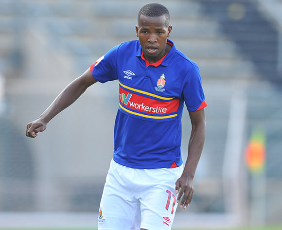 Thabo Mosadi of University Pretoria during the Absa Premiership 2014/15 match between Mamelodi Sundowns and University of Pretoria at the Lucas Moripe Stadium in Pretoria, South Africa on May 09, 2015 ©Samuel Shivambu/BackpagePix
