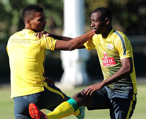 Siyabonga Nhlapo and Rivaldo Coetzee of South Africa during the Bafana Bafana training on the Peoples Park training fields at the Moses Mabhida Stadium in Durban, South Africa on June 08, 2015 ©Gerhard Duraan/BackpagePix