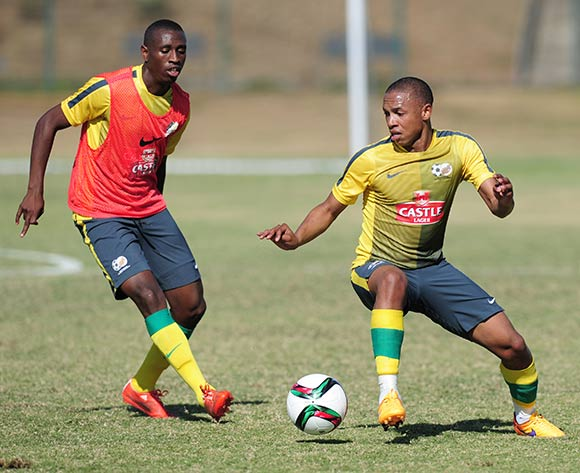 Andile Jali and Siyabonga Nhlapo of South Africa during the Bafana Bafana training on the Peoples Park training fields at the Moses Mabhida Stadium in Durban, South Africa on June 08, 2015 ©Gerhard Duraan/BackpagePix