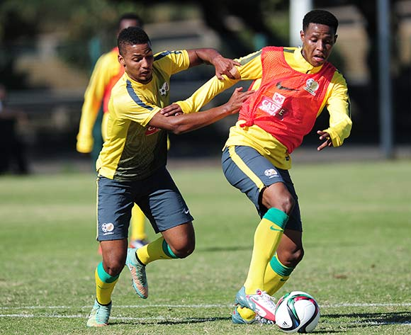 Bongani Zungu and Rivaldo Coetzee of South Africa during the Bafana Bafana training on the Peoples Park training fields at the Moses Mabhida Stadium in Durban, South Africa on June 08, 2015 ©Gerhard Duraan/BackpagePix