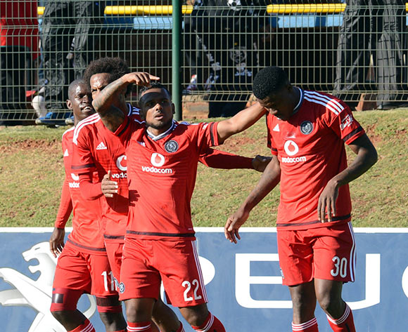 Kermit Erasmus of Orlando Pirates (22) celebrates a goal with teammates during the Caf Confederation Cup match between Orlando Pirates and AS Kaloum on 06 June 2015 at Bidvest Stadium Pic Sydney Mahlangu/BackpagePix