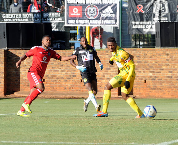Kermit Erasmus of Orlando Pirates scores the first goal   during the Caf Confederation Cup match between Orlando Pirates and AS Kaloum on 06 June 2015 at Bidvest Stadium Pic Sydney Mahlangu/BackpagePix