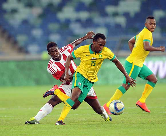 May Mahlangu of South Africa challenged by Sulayman Marreh of Gambia during 2017 Afcon Qualifier match between South Africa and Gambia  on 13 June 2015 at Moses Mabhida Stadium Pic Sydney Mahlangu/BackpagePix