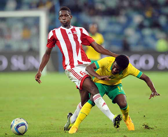 Siphelele Ntshangase of South Africa challenged by Sulayman Marreh of Gambia during 2017 Afcon Qualifier match between South Africa and Gambia  on 13 June 2015 at Moses Mabhida Stadium Pic Sydney Mahlangu/BackpagePix