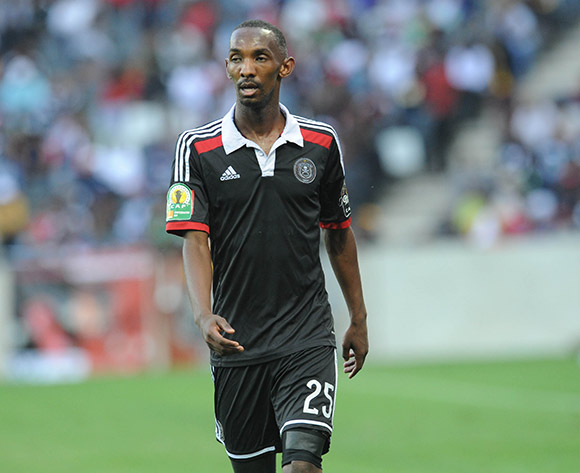 Thabo Rakhale of Orlando Pirates   during the 2015 CAF Confederation Cup match between Orlando Pirates and Zamalek on 11 July 2015 at Mbombela StadiumPic Sydney Mahlangu/BackpagePix