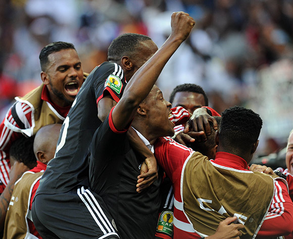 Orlando Pirates players celebrating a goal in the 2015 CAF Confederation Cup