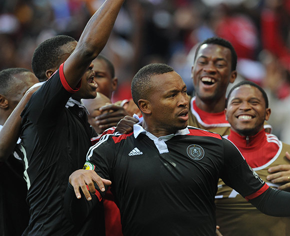 Lehlohonolo Majoro of Orlando Pirates celebrates a goal  during the 2015 CAF Confederation Cup match between Orlando Pirates and Zamalek on 11 July 2015 at Mbombela StadiumPic Sydney Mahlangu/BackpagePix