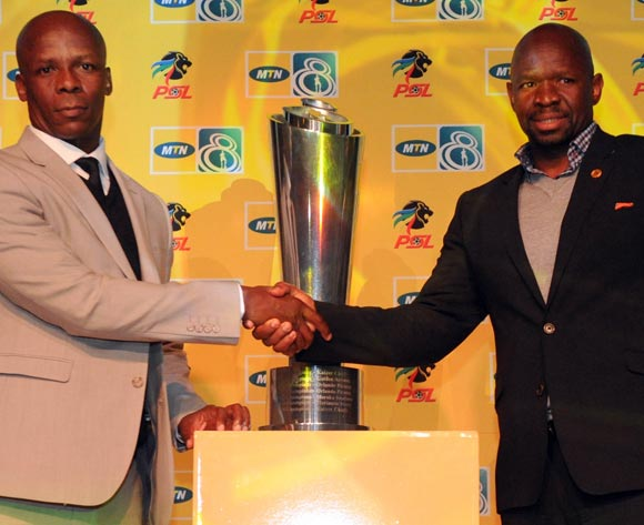 Mandla Ncikazi coach of Maritzburg United and Steve Komphela coach of Kaizer Chiefs  during the MTN8 Launch  on 23 July 2015 at The Venue