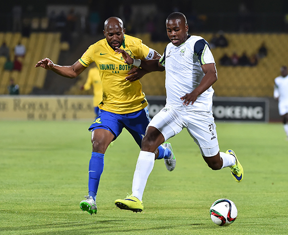 Bonginkosi Ntuli of Platinum Stars is tackled by Ramahlwe Mphahlele of Mamelodi Sundowns during the 2015/16 Absa Premiership football match between Platinum Stars and Mamelodi Sundowns at the Royal Bafokeng Stadium in Rustenburg, South Africa on 08 August , 2015   ©Anton de Villiers/BackpagePix