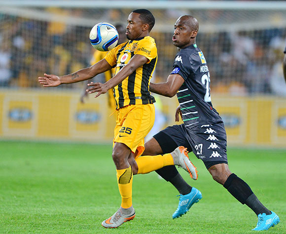 Bernard Parker of Kaizer Chiefs shields ball from Alfred Ndengane of Bloemfontein Celtic during the 2015 MTN8 semifinal, second leg football match between Kaizer Chiefs and Bloemfontein Celtic at Soccer City in Johannesburg, South Africa on August 29, 2015 ©Gavin Barker/BackpagePix