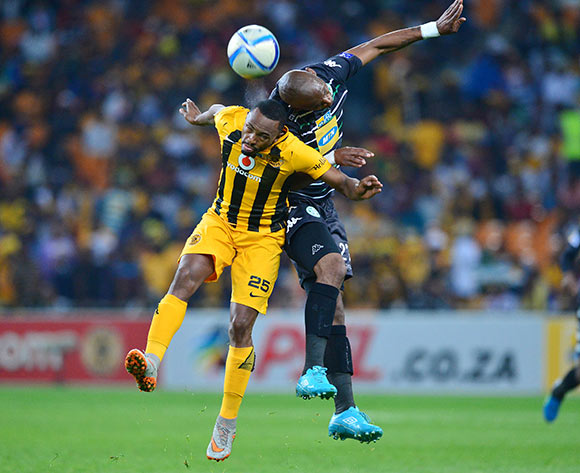 Alfred Ndengane of Bloemfontein Celtic wins header against Bernard Parker of Kaizer Chiefs during the 2015 MTN8 semifinal, second leg football match between Kaizer Chiefs and Bloemfontein Celtic at Soccer City in Johannesburg, South Africa on August 29, 2015 ©Gavin Barker/BackpagePix
