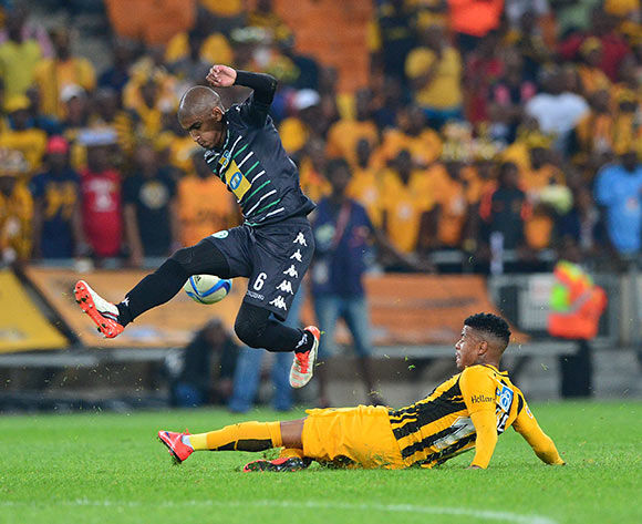 George Lebese of Kaizer Chiefs tackles Keagan Buchanan of Bloemfontein Celtic during the 2015 MTN8 semifinal, second leg football match between Kaizer Chiefs and Bloemfontein Celtic at Soccer City in Johannesburg, South Africa on August 29, 2015 ©Gavin Barker/BackpagePix